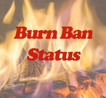 Burn Ban Status with fire background