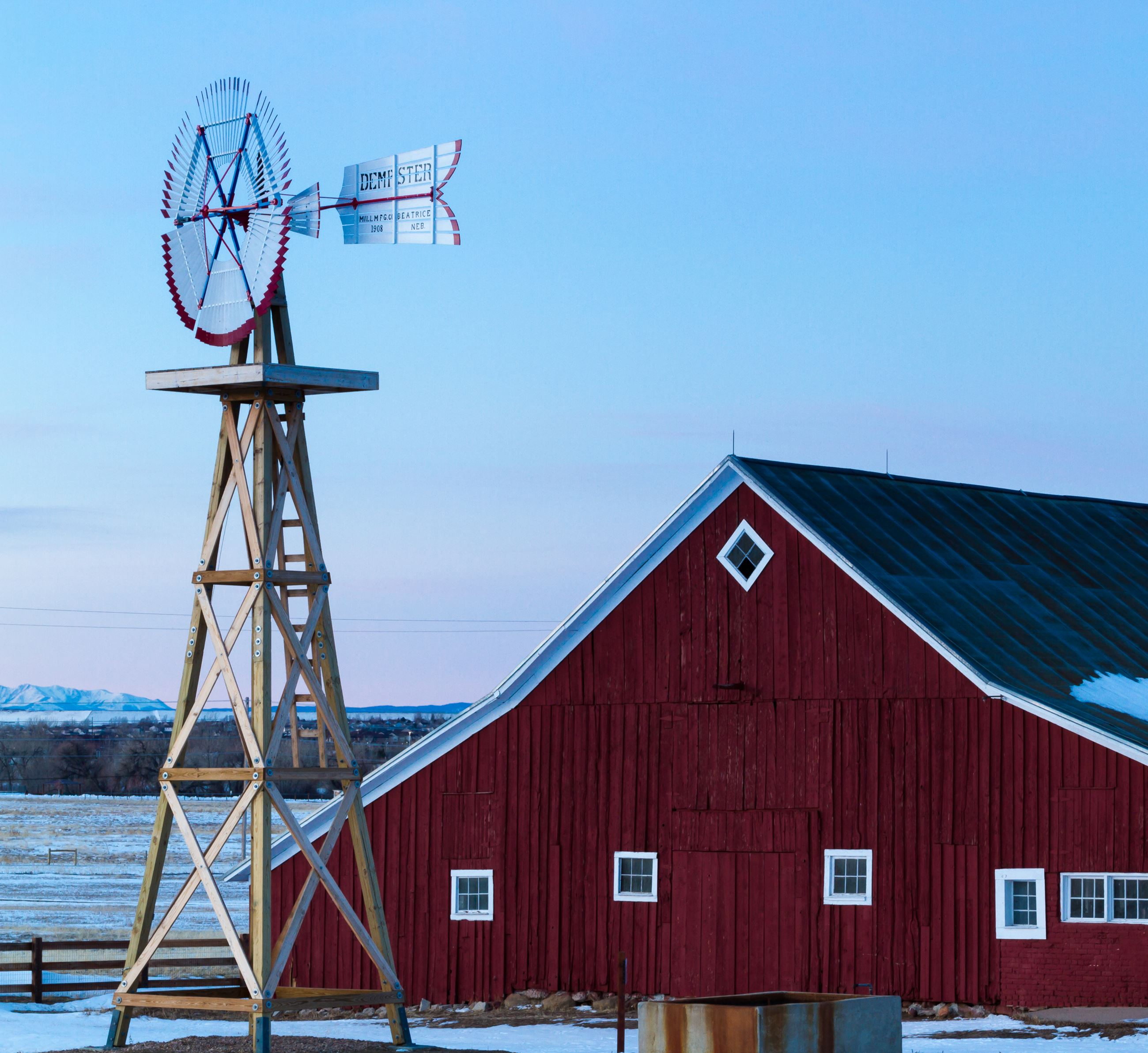17 Mile House Farm Park Iconic Red Barn with windmill