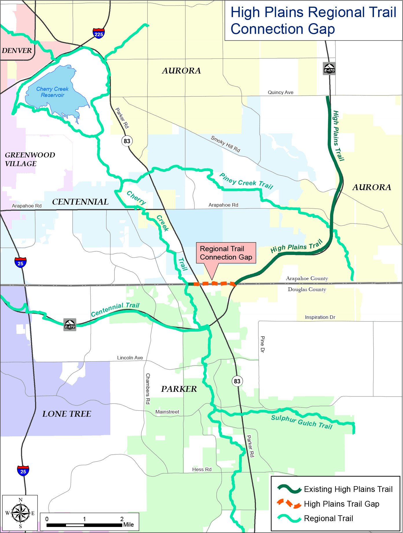 High Plains Trail Connection Gap Regional Map