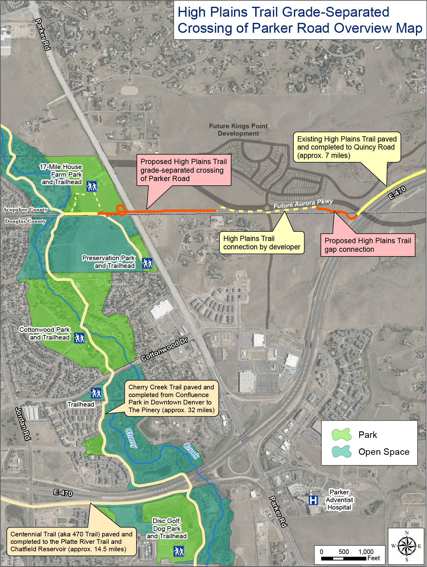 High Plains Trail Connection Gap Detailed Map